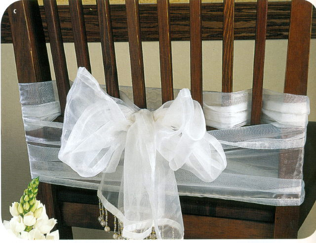 Where to rent CHAIR SASH - WHITE BEADED ORGANZA in State College, Altoona and all of Central Pennsylvania