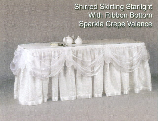 Where to rent ELEGANT WHITE SWAGGED TABLESKIRT - 13 in State College, Altoona and all of Central Pennsylvania